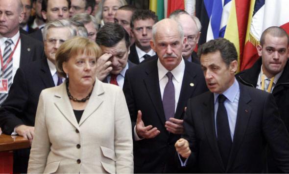 Angela Market, Nicolas Sarkozy et George Papandreou lros d'un sommet pour le sauvetage de la Grèce