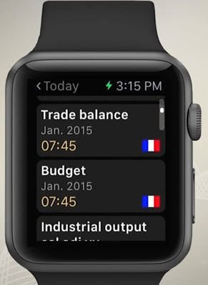 Calendrier économique IG Apple Watch