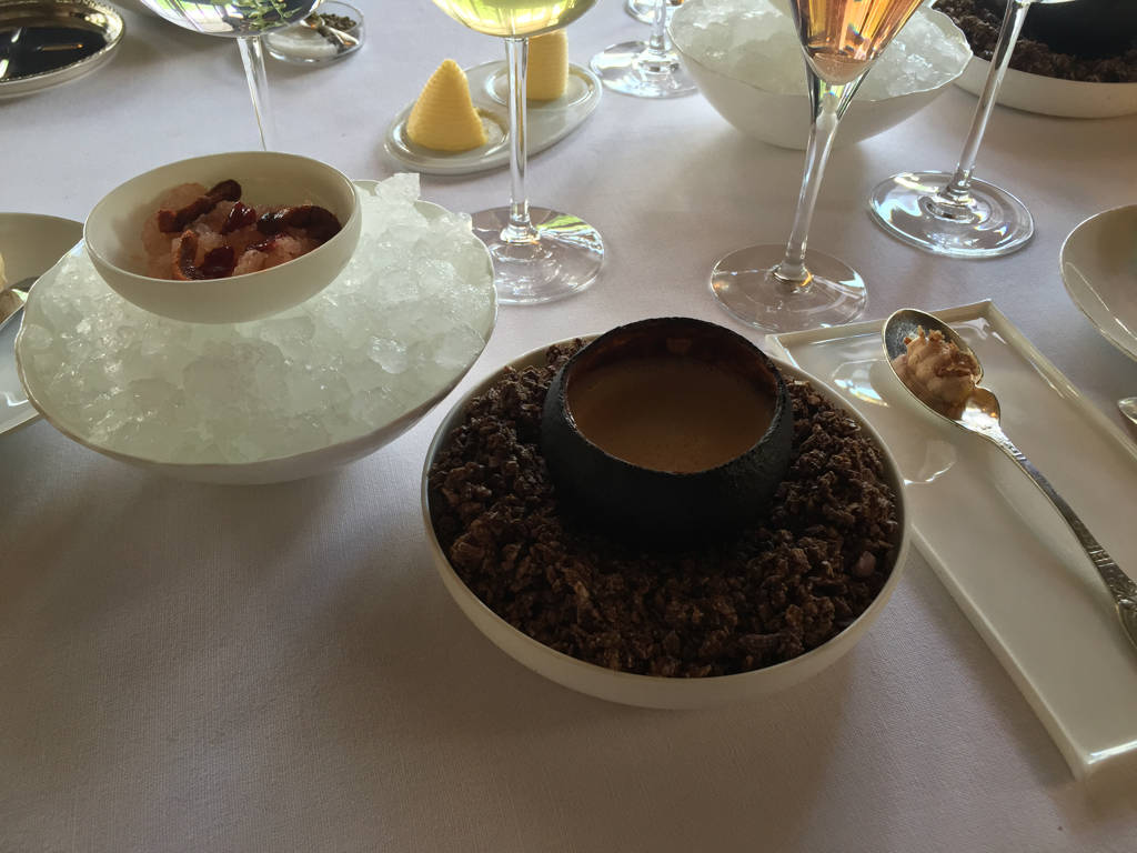 Coque de pamplemousse brûlée, une soupe d'oursin servie chaude, peau de canard croquante au foie gras de canard en amertume et granité iodé chez Le Doyen