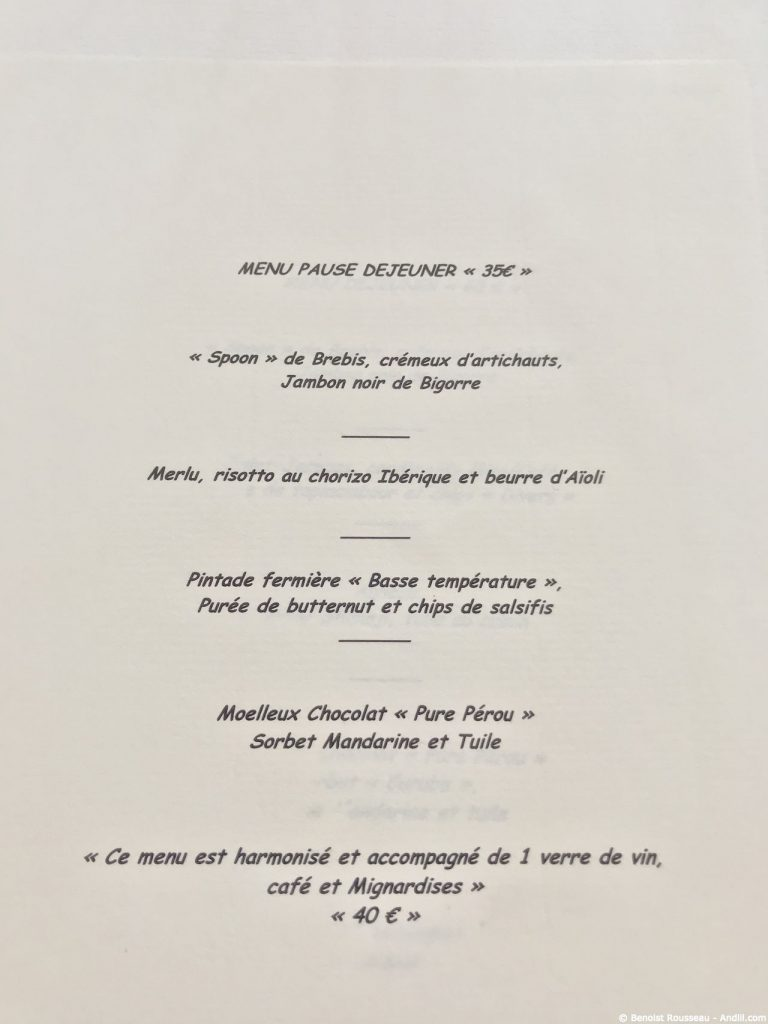 Menu au pavillon des boulevards