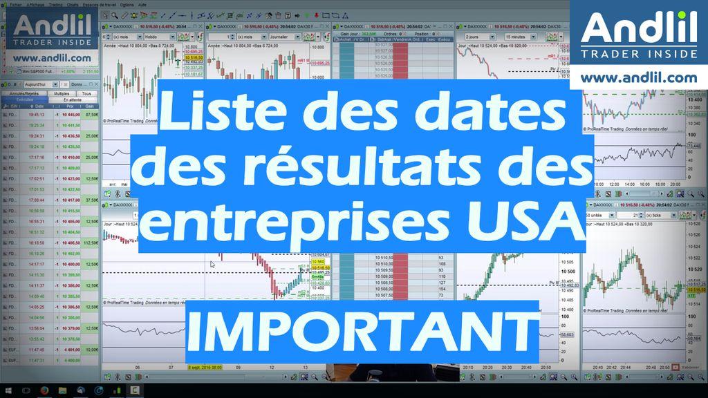 liste des résultats des entreprises américaines important